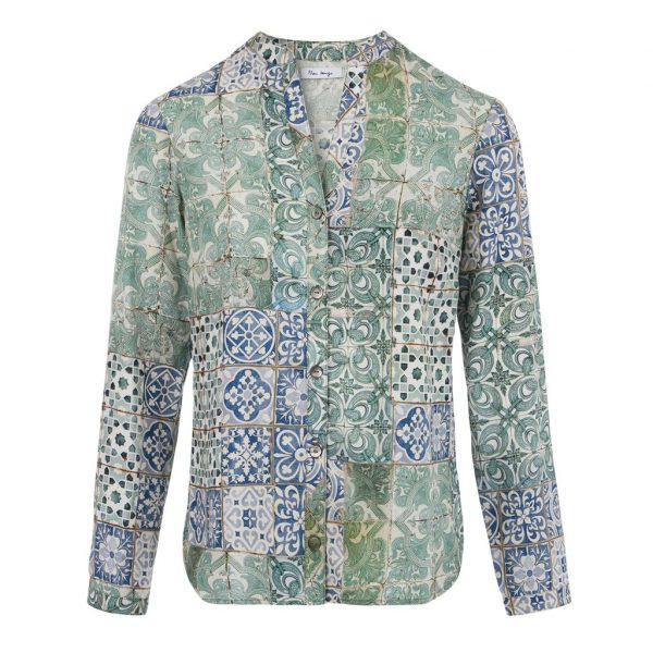 Bleu Tango sur Dressing Responsable : chemise motif azulejos made in Europe