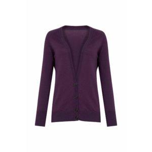 Cardigan Lucy violet en laine de la marque de slowfashion People Tree