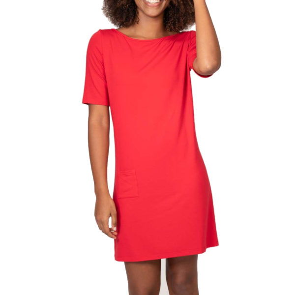Robe Imane rouge, robe droite courte, manches courtes, made in France