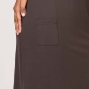Robe Imane marron, robe droite courte, manches courtes, made in France