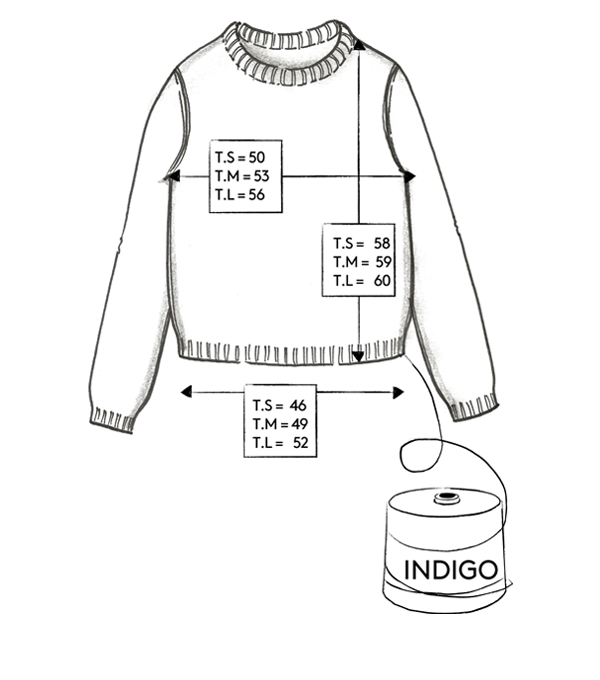 guide des tailles pull Indigo