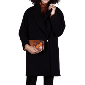 Manteau Candice en laine noir coupe oversize et made in France